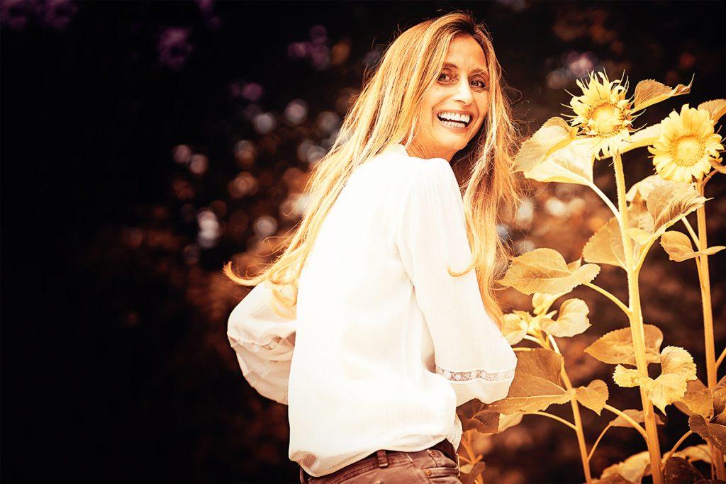 Die Fotografin beim Sonnenblumen Shooting